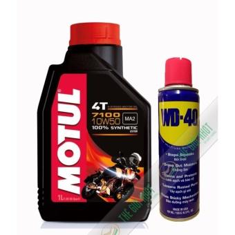 Combo nhớt tổng hợp xe máy mô tô Motul 7100 10W50 1L và chai xịt bôi trơn, dưỡng sên WD-40 191ml