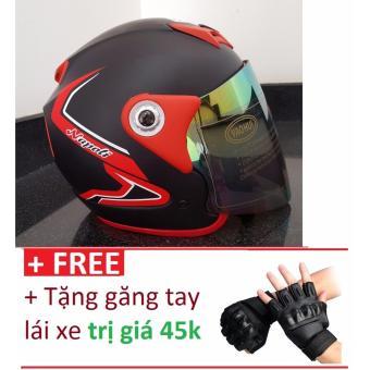 Mũ Bảo Hiểm Moto Napoli viền đỏ + Tặng găng tay lái xe trị giá 45k