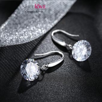 Bông tai bạc nữ quyến rủ đính đá Zircon lấp lánh Hàn Quốc SPE-EH012