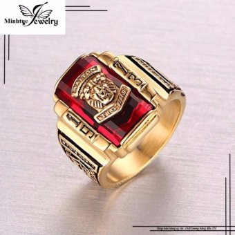 Nhẫn nam cao cấp vàng mặt sư tử đá đỏ