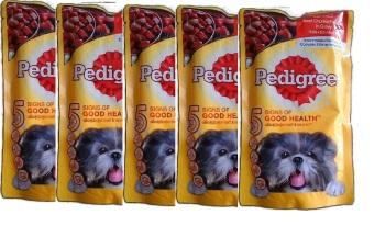Bộ 5 gói Thức Ăn Cho Chó Pedigree Beef Chunk Vị Bò Nấu Sốt 130gx5