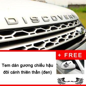Chữ nổi 3D DISCOVERY (bạc) dán nắp capo xe hơi + Tặng Tem dán gương chiếu hậu đôi cánh thiên thần (đen)