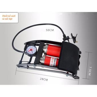 Bơm hơi đạp chân ô tô xe máy loại 2 pitton GT613 (Kiểu dáng mới)