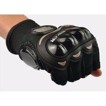 Bộ 01Găng tay chiến thuật cụt ngón PProo-bibiker (Đen) L và 1 ống tay chống nắng hình săm tatoo
