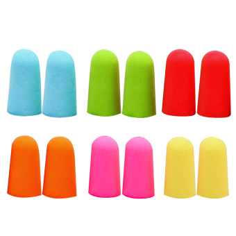 6 Pair Noise Reduction Hearing Protection Sleeping Soft PU Foam Ear Plugs Plug Earplugs Assorted Color with Plastic Case
