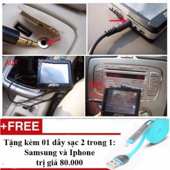 Cáp nối dài dây loa 2 đầu dương chuẩn 3.5 trên xe ô tô + Tặng 01 dây sạc điện thoại 2 trong 1 cho Iphone và Samsung