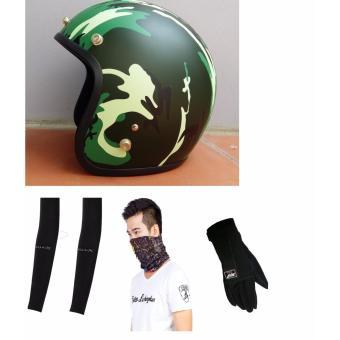 Mũ Bảo Hiểm 3/4 Napoli kiểu Lính và Phụ Kiện Đi Phượt