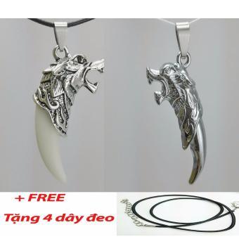 Bộ 2 Vòng cổ nam bạc Mã Lai và vòng cổ nam màu inox s23
