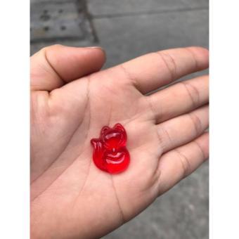 Mặt dây chuyền đá poly đỏ hình hồ ly