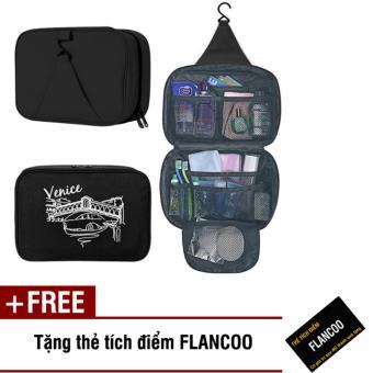 Túi đựng mỹ phẩm đi du lịch Flancoo 3634 (Đen) + Tặng kèm thẻ tích điểm Flancoo