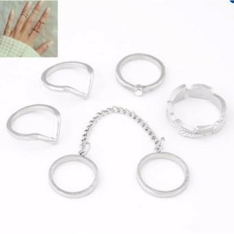 Bộ 6 nhẫn midi hỗn hợp (màu bạc)