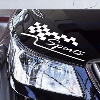 Tem dán Sport cờ caro cho xe hơi (màu trắng)