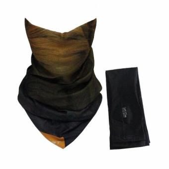 Bộ khăn đa năng và găng tay xỏ ngón Lets Slim Aqua X chống nắng UV đi phượt (Nâu phối Đen)