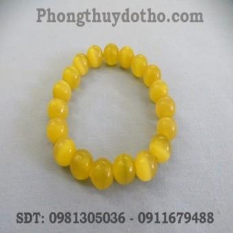 Vòng tay- Đá mắt mèo màu vàng hạt 10 ly - Vòng đá phong thủy
