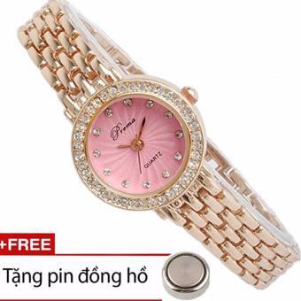 Đồng hồ nữ đính đá Prema dây thép không gỉ + Tặng pin (hồng ).