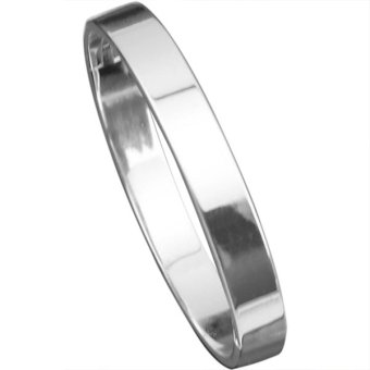 Bluelans Men's Silver Plated Copper Polished Cuff Bangle Gift Bracelet Wristband