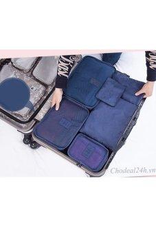 Bộ túi chia đồ dùng cá nhân và quần áo ra 6 túi Kim Phát (xanh đậm)