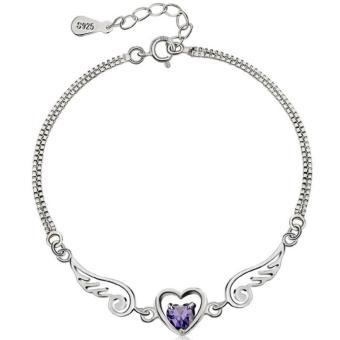 Lắc tay trái tim đôi cánh thiên thần bạc S925