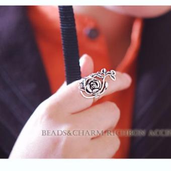 Nhẫn ôm ngón retro hoa hồng (Bạc cổ)