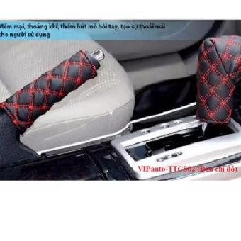 Bọcthắng tay cần số xe ô tô VIPauto-TTCS02 (Đen chỉ đỏ)