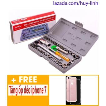 Bộ dụng cụ sửa chữa ô to, xe máy 40 món + Free ốp dẻo trong suốt cho iphone 7