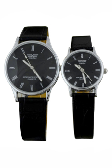 Đồng hồ đôi dây da SWIDU 002 (Đen)