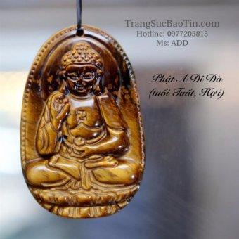 Mặt Dây Chuyền PHẬT Bản Phật A Di Đà Đá Mắt Hổ Phong Thủy BẢO TÍN