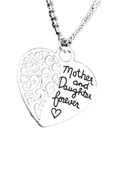 Fancyqube Mother Daughter Eternal Love Necklace Silver - intl