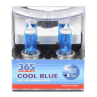 Bộ 2 bóng đèn ô tô 365-Auto H4 Coolblue 12V (Xanh )
