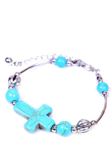 Fancyqube Jewelry Tibetan Pld Bracelet Turquoise Bead Adjust Cross Bangle Silver