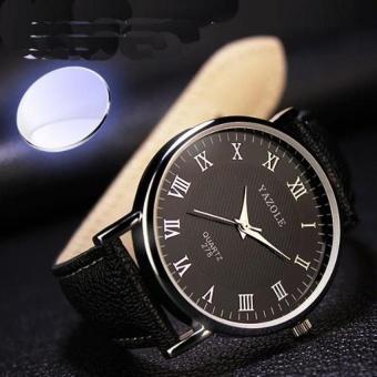 Đồng hồ dây da nam YZL 278 (Đen)