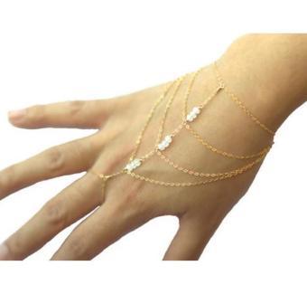 Celebrity Tassel Chain Acrylic Beads Bracelet Slave Finger Ring Hand Harness - Intl