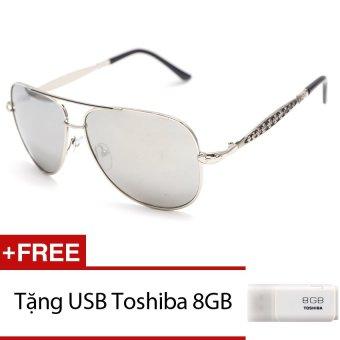 Kính mát nam nữ MKH 7074 (Trắng tráng gương) + Tặng 1 USB Toshiba 8GB