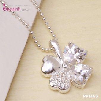 Mặt dây chuyền nữ trang sức bạc Ý S925 Bạc Xinh mặt cỏ bốn lá may mắn PP1456