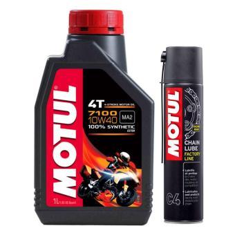 Bộ nhớt cho xe máy,mô tô phân khối lớn Motul 7100 4T 10W50 và chai xịt bôi trơn sên Motul C4 400ml
