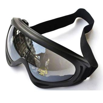 Mắt kính đi phượt chống bụi, chống tia UV (gọng Đen, kính trong)