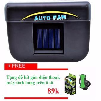Quạt thông gió ô tô năng lượng mặt trời Auto Fan (Đen)+ Tặng TB gắn điện thoại, máy tính bảng