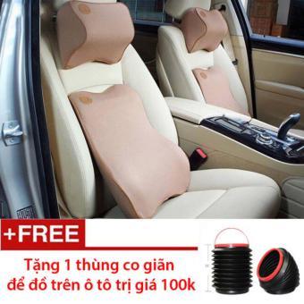 Bộ gối tựa đầu tựa lưng ô tô cao su non cao cấp - tặng 1 thùng co giãn để đồ trên ô tô