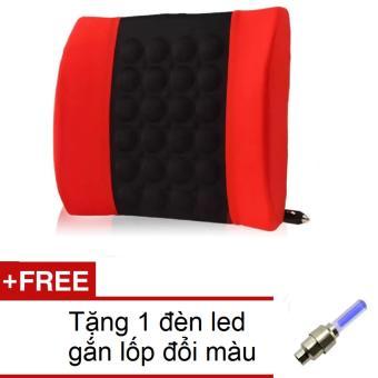 Đệm dựa lưng massage điện cho ô tô SPKH 206072-1A(Đỏ phối đen) + Tặng 1 đèn led gắn lốp đổi màu 206131
