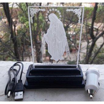 Tranh mica 3D đổi màu đức mẹ ban ơn để xe 10x12cm dùng nguồn 5vol hay 12vol hay 24vol