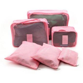 Bộ 6 Túi Đựng Đồ Du Lịch Chống Thấm Bag in Bag (Hồng nhạt)