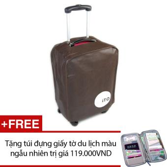 Túi bọc vali chống nước size 24 (Nâu) + Tặng túi đựng giấy tờ du lịch màu sắc ngẫu nhiên