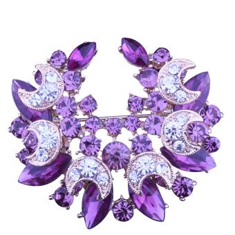 Vococal Moon Brooch Pin Purple - Intl
