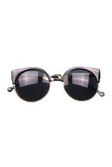 Fancyqube Semi-rimless Circle Fashion Style Unisex Designer Sunglasses Black