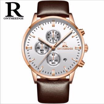 Đồng hồ nam Ontheedge dây da 6 kim (Trắng)