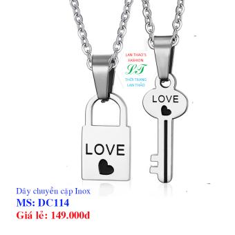 Dây chuyền Inox cặp khóa tình yêu DC114 (Trắng)