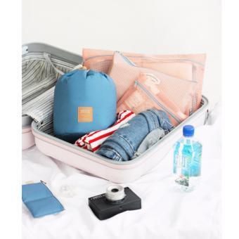 Bộ túi đựng mỹ phẩm du lịch rút dây chống sốc (xanh đậm)