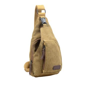 Canvas Unbalance Backpack Crossbody Shoulder Bag Ches Khaki (Intl)
