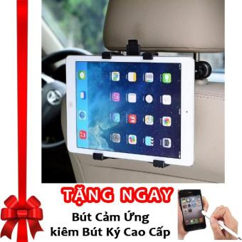 Bộ giá đỡ Ipad, máy tính bảng sau ghế xe ô tô tiện lợi, chắc chắn IP01 F586 (Đen) + Tặng bút cảm ứng kiêm bút ký