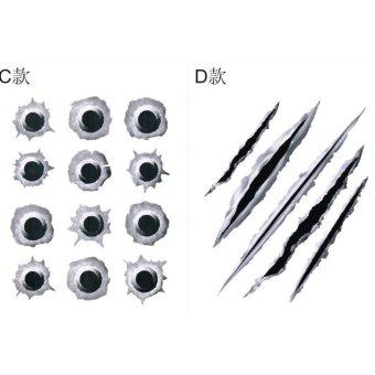 02 Miếng Tem - đề can dán 3D hình ngoại thất xe ô tô , xe máy hình vết đạn bắn C11-D11